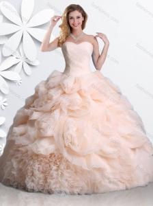 Elegant Big Puffy Rolling Flowers Peach Sweet 16 Dress with Ruffles