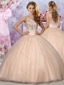 Exclusive Strapless Beaded Champagne Quinceanera Dress in Tulle