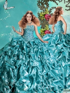 Exclusive Visible Boning Bubble and Beaded Teal Quinceanera Dress in Taffeta