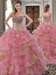 Gorgeous Beaded and Ruffled Big Puffy Quinceanera Dress in Watermelon Red and Gold