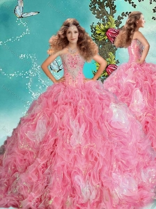Gorgeous Rose Pink Brush Train Perfect Quinceanera Dress in Rolling Flowers