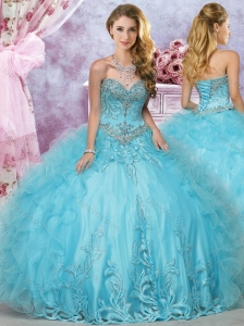 Hot Sale Beaded and Ruffled Organza Perfect Quinceanera Dress in Aqua Blue
