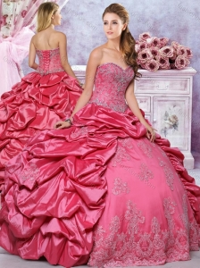 Lovely Beaded Coral Red Quinceanera Dress with Appliques and Bubbles