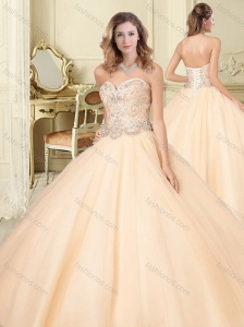Lovely Big Puffy Champagne Perfect Quinceanera Dress with Beaded Bodice