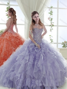 Popular Organza Sweetheart Lavender Perfect Quinceanera Dress with Beading and Ruffles