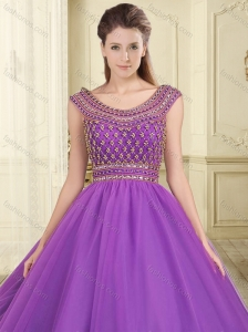 Romantic Beaded Bodice Scoop Purple Sweet 16 Quinceanera Dress with Backless