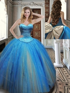 Romantic Big Puffy Rainbow Colored Perfect Quinceanera Dress with Beading and Bowknot