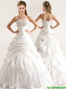 2016 Beautiful A Line Beaded and Ruffled Wedding Dresses with Taffeta