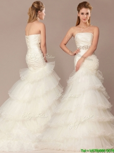 2016 Exquisite Mermaid Beading and Ruffles Layers Wedding Dresses with Brush Train
