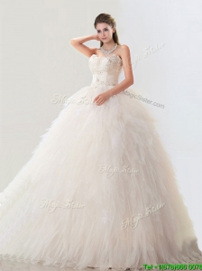 2016 Fashionable Deep V Neckline Wedding Dresses with Beading and Ruffles