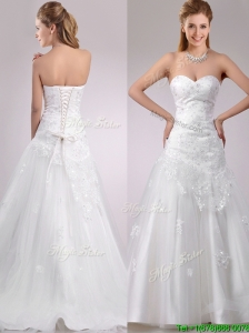 2016 Lovely Be-ribboned Beaded and Applique Wedding Dress with Brush Train
