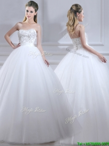 2016 Popular Ball Gown Wedding Dresses with Beading and Sashes