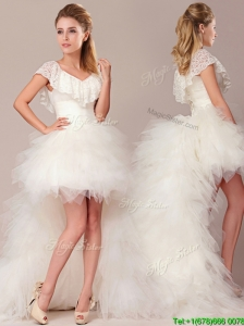 Fashionable High Low Detachable Wedding Dresses with Lace and Ruffles
