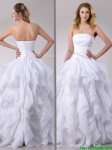 Modest A Line Strapless Ruffled Wedding Dress in Chiffon