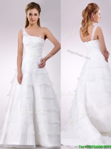 Top Selling One Shoulder Beaded and Ruffled Layered Zipper Up Wedding Dress with Brush Train