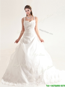 Beautifu Spaghetti Straps Court Train Wedding Dresses with Beading and Appliques