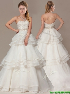 Beautiful A-line Brush Train Wedding Dresses with Beading and Ruffles Layers