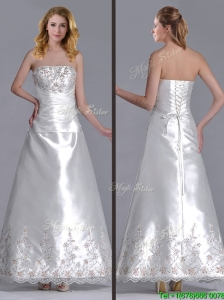 Beautiful A Line Strapless Beaded and Embroidered Wedding Dress in Taffeta