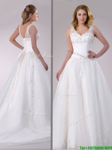 Beautiful A Line V Neck Court Train Wedding Dress with Beading and Sequins