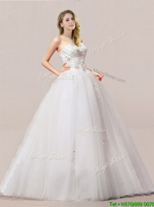 Beautiful Ball Gown Beaded and Applique Wedding Dresses with Strapless