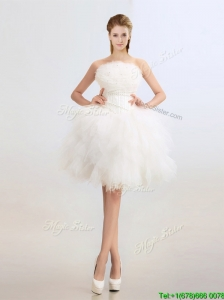 Beautiful Beaded and Ruffles Wedding Dresses with Knee Length