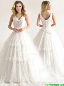 Beautiful Deep V Neckline Wedding Dresses with Beading and Lace
