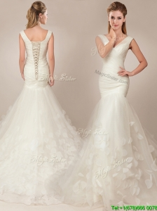Beautiful Mermaid Deep V Neckline Wedding Dresses with Appilques and Ruching