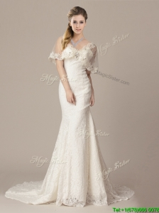 Beautiful Mermaid V Neck Court Train Short Sleeves Wedding Dresses with Lace and Appliques