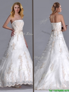 Beautiful Princess Strapless Applique and Belted Wedding Dress with Brush Train