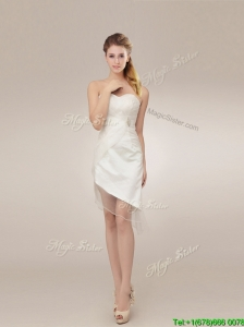 Beautiful See Through Asymmetrical Wedding Dresses with Ruching