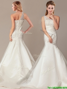 Beautiful Shoulder Mermaid Wedding Dresses with Court Train