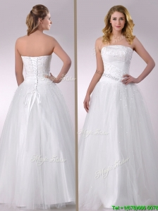 Popular A Line Strapless Beaded Wedding Dress in Tulle