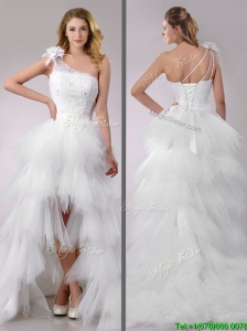 Popular High Low Beaded and Ruffled Wedding Dress with Detachable Skirts