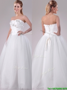 Popular Really Puffy Sweetheart Beaded Long Wedding Gown in Tulle