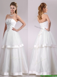 Popular Strapless A Line Beaded Long Wedding Dress in Tulle