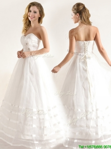 Popular A-line Organza Wedding Dresses with Handle Made Flower and Ruching