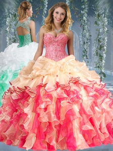 Beautiful Really Puffy Red and Champagne Beaded and Ruffled 15 Quinceanera Dress
