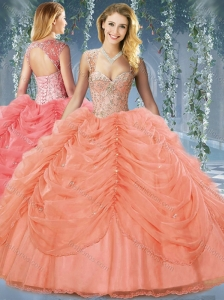 Classical Beaded and Bubble Big Puffy Organza 15 Quinceanera Dress in Orange Red