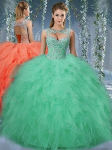 Exquisite Beaded and Ruffled Big Puffy Discount Quinceanera Dress in Turquoise