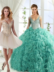 Gorgeous Rolling Flowers Deep V Neck Discount Quinceanera Dresses with Cap Sleeves
