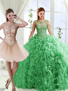 Luxurious See Through Scoop Green Discount Quinceanera Dresse with Brush Train