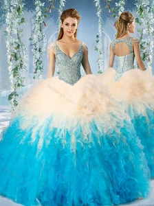 Modest Beaded Decorated Cap Sleeves 15 Quinceanera Dress in Blue and Champagne