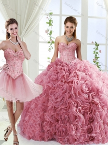 Romantic Beaded and Rolling Flowers 15 Quinceanera Dress with Brush Train
