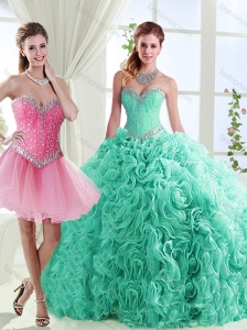 Romantic Rolling Flowers Really Puffy Discount Quinceanera Dresses in with Beading