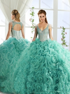 Sexy Deep V Neck Mint Detachable Quinceanera Skirt with Beading and Appliques