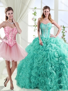 Visible Boning Rolling Flowers Detachable Quinceanera Skirt with Beading