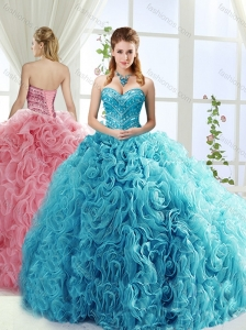 Artistic Rolling Flowers Brush Train Popular  Quinceanera Gowns with Beading
