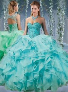Classical Beaded and Applique Big Puffy Popular Quinceanera Dress in Aqua Blue