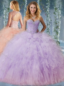 Discount Beaded and Ruffled Quinceanera Dress with Detachable Straps