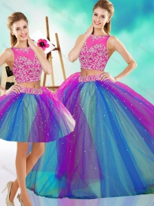 Lovely Beaded Scoop Tulle New Arrival Quinceanera Dress in Rainbow Colored